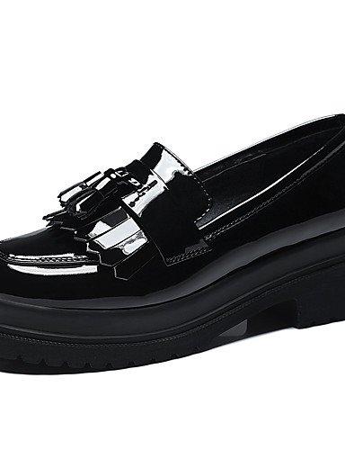 Chaussures Eu36 cuir amp; bureau Rouge Uk4 Red noir Cn36 Talons gros Travail Décontracté Verni Femme talons À Ggx us6 Talon chaussures 1dqxnB1