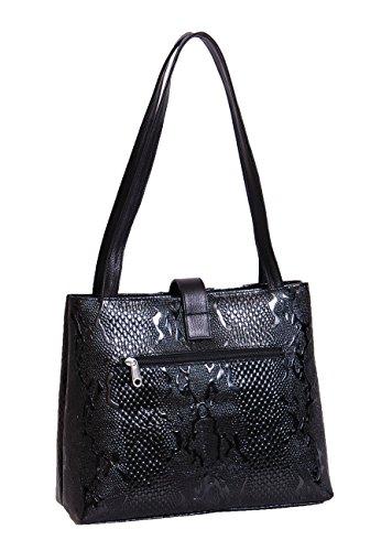 Classique en cuir véritable sac casual pour les femmes Mesdames affaires Sac à main la conception de serpent MERIS Noir