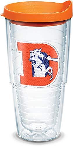 Tervis 1039595 NFL Denver Broncos Legacy Tumbler with Emblem and Orange Lid 24oz, Clear Denver Broncos Travel Mug