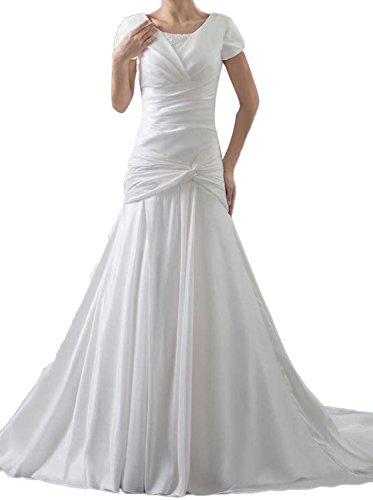 Albizia Short Sleeve Taffeta Beige Square Trumpet Chapel Train Wedding Dresses(18,White)