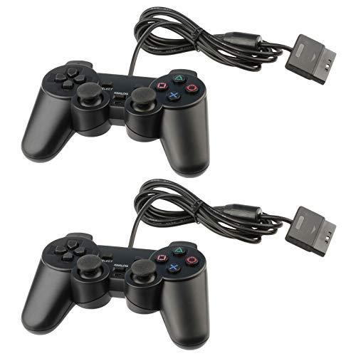 for PS2 Controller Playstation 2 Wired (Black) - 2 Pack