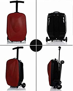 20 inch Luggage-foldable scooter suitcase with multi-functional suitcase fashion style travel Red