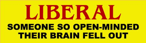 Liberal: Someone So Open Minded Their Brain Fell Out; Bumper Sticker