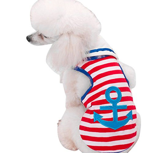 [Sannysis Navy Style Anchor Striped Vest Sailor Triangular Scarf Pet Clothes(S, Red)] (Nice Sailor Costumes)