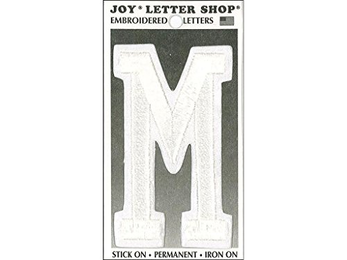 Joy JOY36013 Applique Letter Iron On Varsity White M, (Varsity Applique)