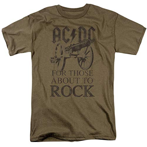 ACDC for Those About to Rock Album T Shirt & Exclusive Stickers (Large) Safari Green