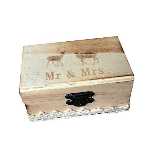 Jili Online Wedding Party Wooden Ring Bearer Box Ring Box Ring Pillow Box Lover Gift Box by Jili Online (Image #9)