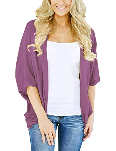 Women's Cardigans Long Sleeve Open Front Shrug Wrap Shirt (Purple, XL) (Wrap Purple Sweater)