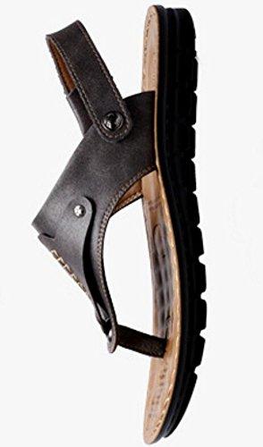 Sandals Toe Vocni Toe Shoes Men Sandals Comfort Open Mens Black Open Leather Casual qxxwSPEH