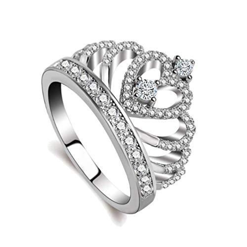 Women Rings Tiara Princess Crown Queen Heart Rings Cubic Zirconia Jewelry Gift for Women Girl Christmas