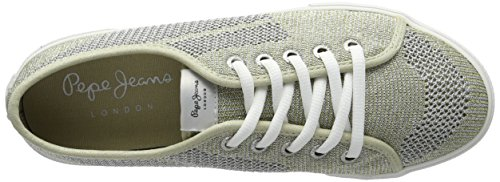 Pepe Jeans London Aberlady Fishnet Metal, Zapatillas para Mujer Dorado (Gold)