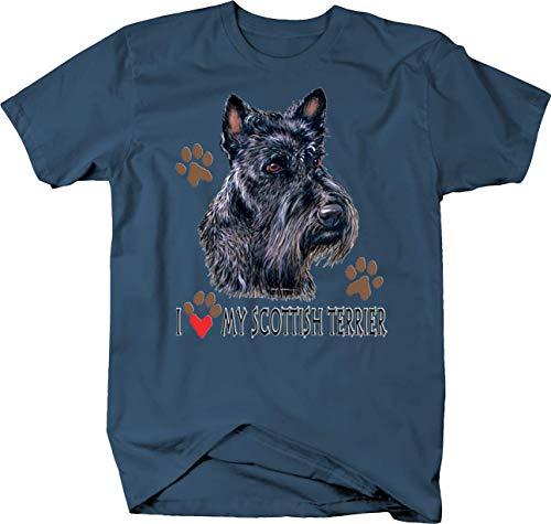 I Love My Scottish Terrier Dog with Paw Prints Custom Tshirt - 2XL