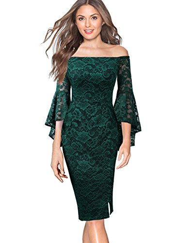 Ruffle Front Sheath Dress (VfEmage Womens Off Shoulder Lace Bell Sleeve Cocktail Party Sheath Dress 9360 GRN M)
