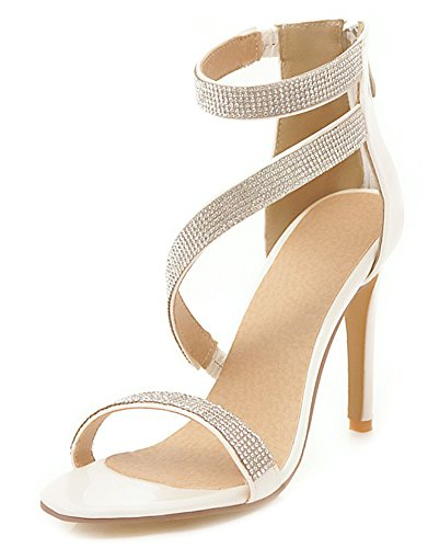 Aisun Women's New Rhinestones Zipper High Stilettos Sandals White