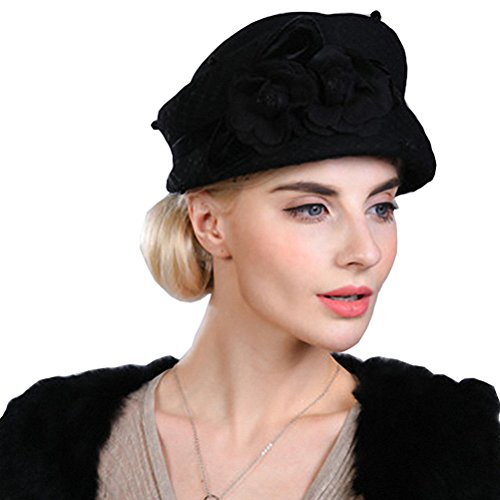 Maitose Women's Lace Flower Wool Beret Cap Black