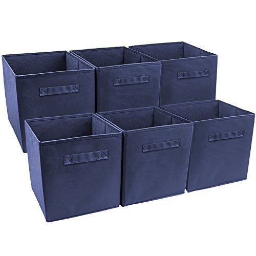 Sorbus Foldable Storage Cube Basket Bin (6 Pack, Navy Blue)