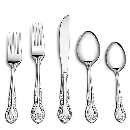 Sittikatechai 20 Pcs Stainless Steel Cutlery Flatware Set, 4Sets of Silverware sets 5Pcs per set Town&Country Pattern ()