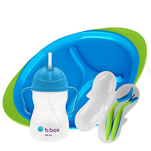Easy Grip Feeding Set - b.box Toddler Feeding Set   Color: Ocean Breeze   Includes: Sippy Cup, Cutlery Set and Divided Plate   6 Months +   BPA-Free   Phthalates & PVC Free   Dishwasher & Microwave Safe