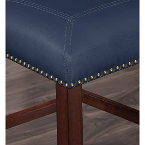 Greyson Living Claren Leather Counter Stool by Navy Blue