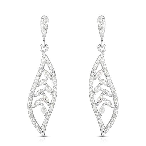 Unique Royal Jewelry 925 Solid Sterling Silver Marquise Brilliant Cut Cubic Zirconia Dangling Drop Leaf Designer Post Earrings. (Rhodium-Plated-Silver) -