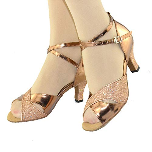 Fondo 6cm Banchetto Scarpe Gold Morbido Alto da Tacco Ballo PU QXH Femminile Latino Izw7wqd