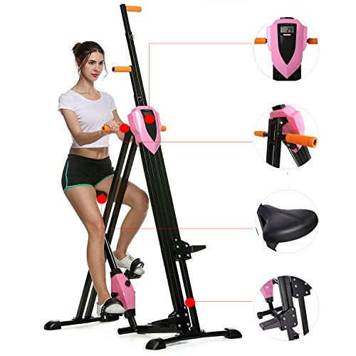 Steel Alloy Stair Climber Machine, Folding 2 in 1 Climbing Stepper Home Gym, Exercise Folding Climbing Machine,Vertical Climbing Exercise Machine, Fitness Stepper Gym, Whole Body Cardio Work(Pink2)