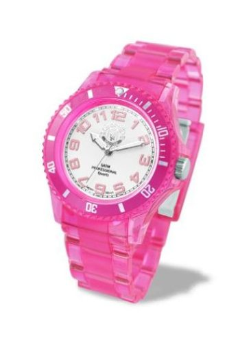 cf27e0774 Manchest United FC Electric Ladies Translucent Pink Plastic Strap Watch  LA3285  Amazon.ca  Watches