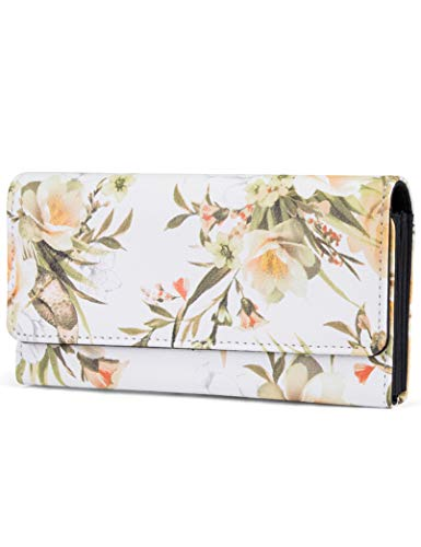 Billfold Pattern - Mundi File Master Womens RFID Blocking Wallet Clutch Organizer With Change Pocket (One Size, Hummingbird Floral)