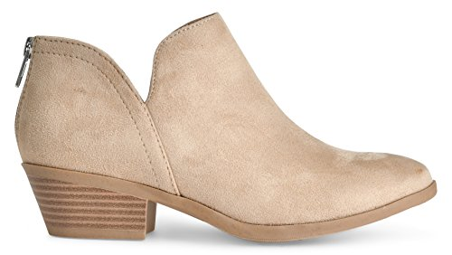 Slip LUSTHAVE Low Toe Boot up Oatmeal Stack Suede on Almond by Western Women's Heel Zip Toe Madeline Casual Bootie Round Ankle vwrv0qx