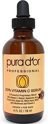PURA D'OR (4oz) 20% Vitamin C Serum for Face and Eye with Hyaluronic Acid, Vitamin E and Argan Oil, Treatment for Dark Spots, Acne, and Wrinkles, Men & Women (Packaging may vary)