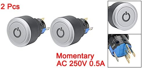 uxcell DC 24V SPDT 瞬時 押しボタンスイッチライト グレー丸ボタン ライト