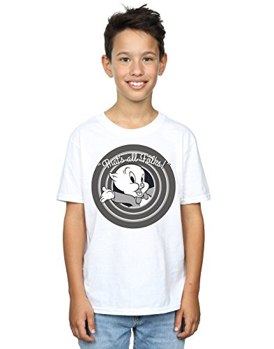 Looney Tunes Boys Porky Pig That's All Folks T-Shirt 5-6 Years White