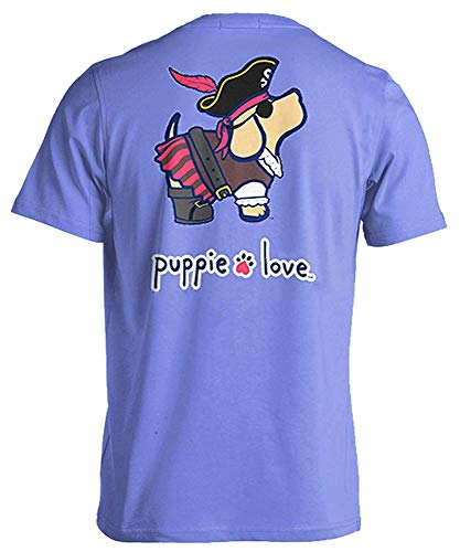 Puppie Love Rescue Dog Adult Unisex Short Sleeve Cotton T-Shirt, Pirate Pup, Small