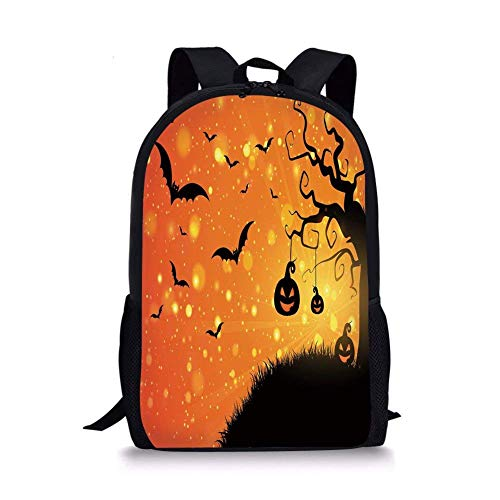 School Bags Halloween,Magical Fantastic Evil Night Icons Swirled Branches Haunted Forest Hill Decorative,Orange Yellow Black for Boys&Girls Mens Sport Daypack]()