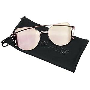 Women's Half Frame Cross Bar Flat Color Mirrored Lens Metal Cat Eye Fashion Sunglasses (Pink / Pink, 57)