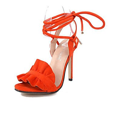 Talones verano vestidos de lana Stiletto talón Lace-up marrón anaranjado Orange