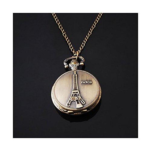 (Bronze Vintage Eiffel Tower Paris Women Bronze Chain Necklace Pocket Watch By Chonlyshop)