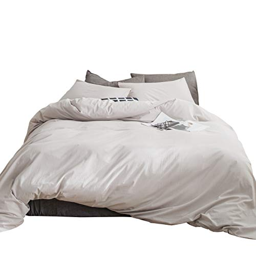 - SUSYBAO 3 Pieces Duvet Cover Set 100% Natural Washed Cotton Beige King Size 1 Duvet Cover 2 Pillowcases Luxury Quality Ultra Soft Breathable Durable Hypoallergenic Bedding Set with Zipper Ties