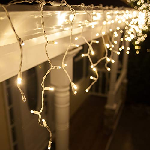 70 5mm Warm White LED Icicle Lights, 7.5' on White Wire, White Christmas Lights Outdoor Icicle Christmas Lights Wedding Lights Party Home Bedroom (5mm Lights, Warm White) ()