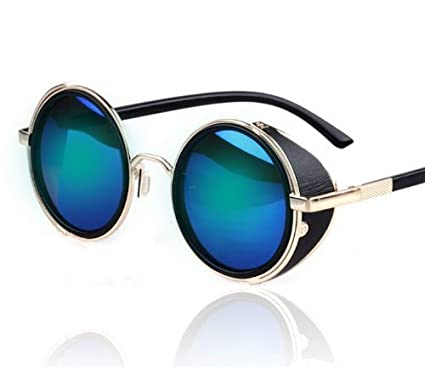 Hot Fashion Steampunk Retro Style Goggles 50s Golden Frame Blue Round  Mirror Lens Glasses Blinder Sunglasses for Men Women Outdoor Shopping Riding