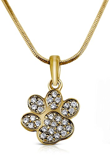 Petite Small Sparkling Crystal Dog Puppy Cat Kitten Animal Paw Gold Tone Necklace