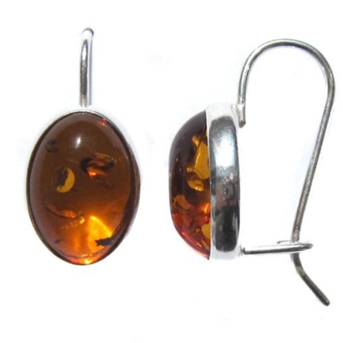 Amber Sterling Silver 925 Oval Classic Love Earrings