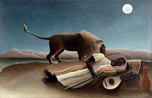 - The Sleeping Gypsy : Henri Rousseau : Circa 1897 Primitivism Art Print