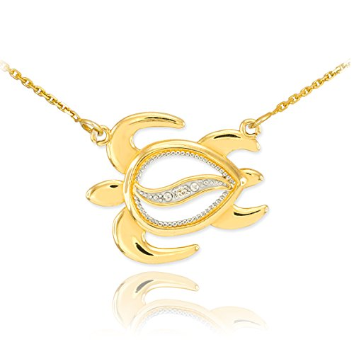 Sea Life Collection Fine 14k Yellow Gold Diamond-Accented Lucky Hawaiian Honu Turtle Necklace, (14k Sea Turtle)
