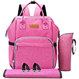 Diaper Bag Baby Backpack with Changing Pad, Insulated Cooler Pocket for Bottle Storage, Stroller Straps, by Pantheon, Best Bags for Girl or Boy, Mom or Dad (Magenta/Pink)
