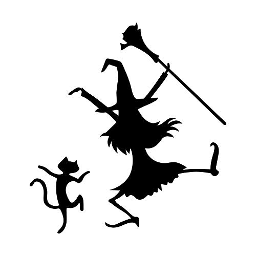 Halloween Office Themes Decoration (Vinyl Wall Art Decal - Dancing Witch and Cat - 24.5