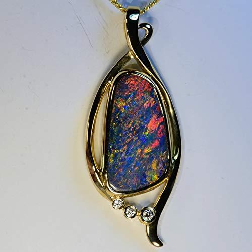 (Fiery Genuine Australian Opal Solid 18k yellow gold & diamond pendant (14980))