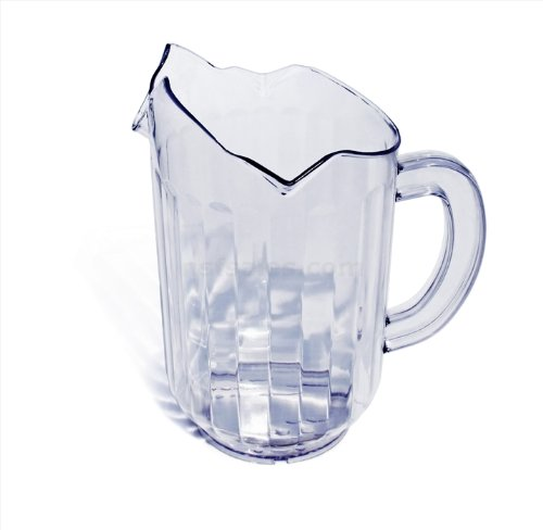 New Star San Plastic Restaurant Water Pitcher with 3 Spouts, 60-Ounce, Set of 12, Clear