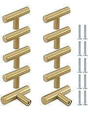 10 STKS Lade Handgrepen T Bar Keuken Deurknoppen, ZUYOKO Moderne Metalen Kast Handvatten Deur Handvat Meubelgrepen met Schroeven (60mm, Geborsteld Goud)
