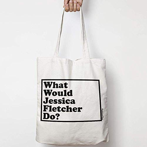 WHAT WOULD JESSICA FLETCHER DO? WWYD natural cotton canvas tote bag MURDER SHE WROTE